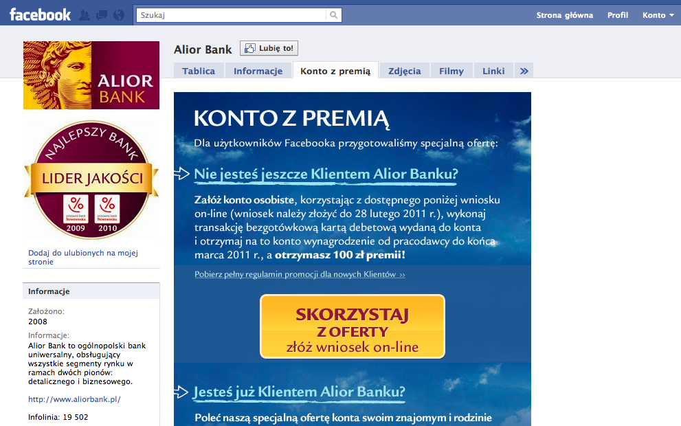 Alior Bank rozdaje pieniądze na Facebooku Alior Bank 1296131407