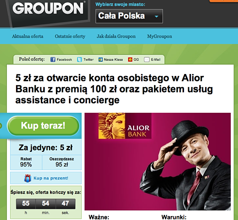Alior Bank: 100 zł premii za zakup na Grouponie Alior Bank 1305209312