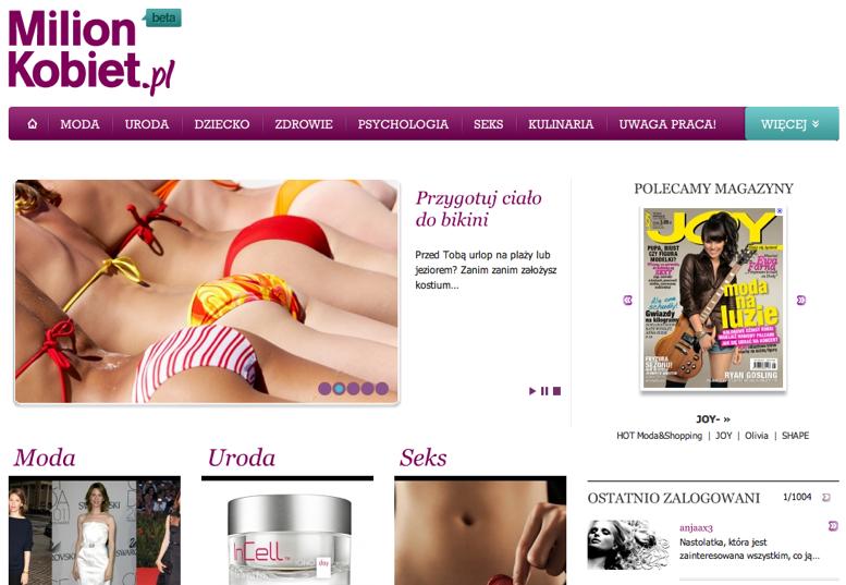 MilionKobiet.pl: nowy serwis od Marquard Media Marquard Media Polska 1313056181
