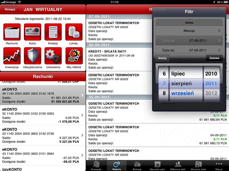mBank z aplikacją na iPada mBank 1315918968