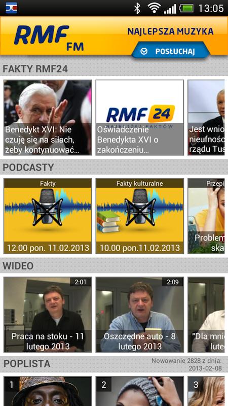 Aplikacja RMF FM dostępna na Adroidy RMF FM 1360668850