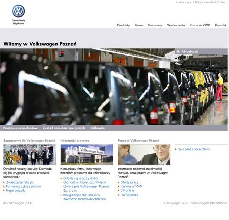 Witryna Volkswagena Poznań po relaunchu Volkswagen 1251116306