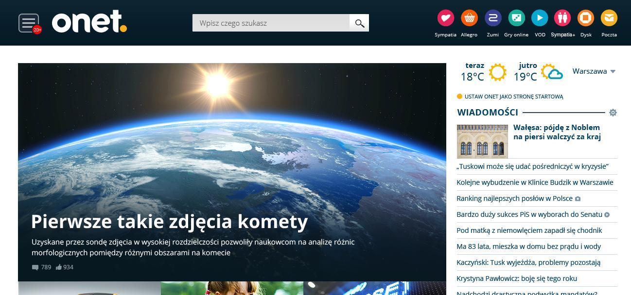 Onet z nową stroną główną E-commerce Mediarun Com Moj Onet
