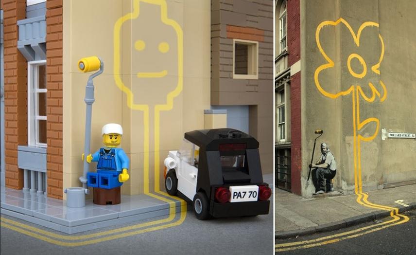 Street art z klocków Lego Lego mediarun com Banksy