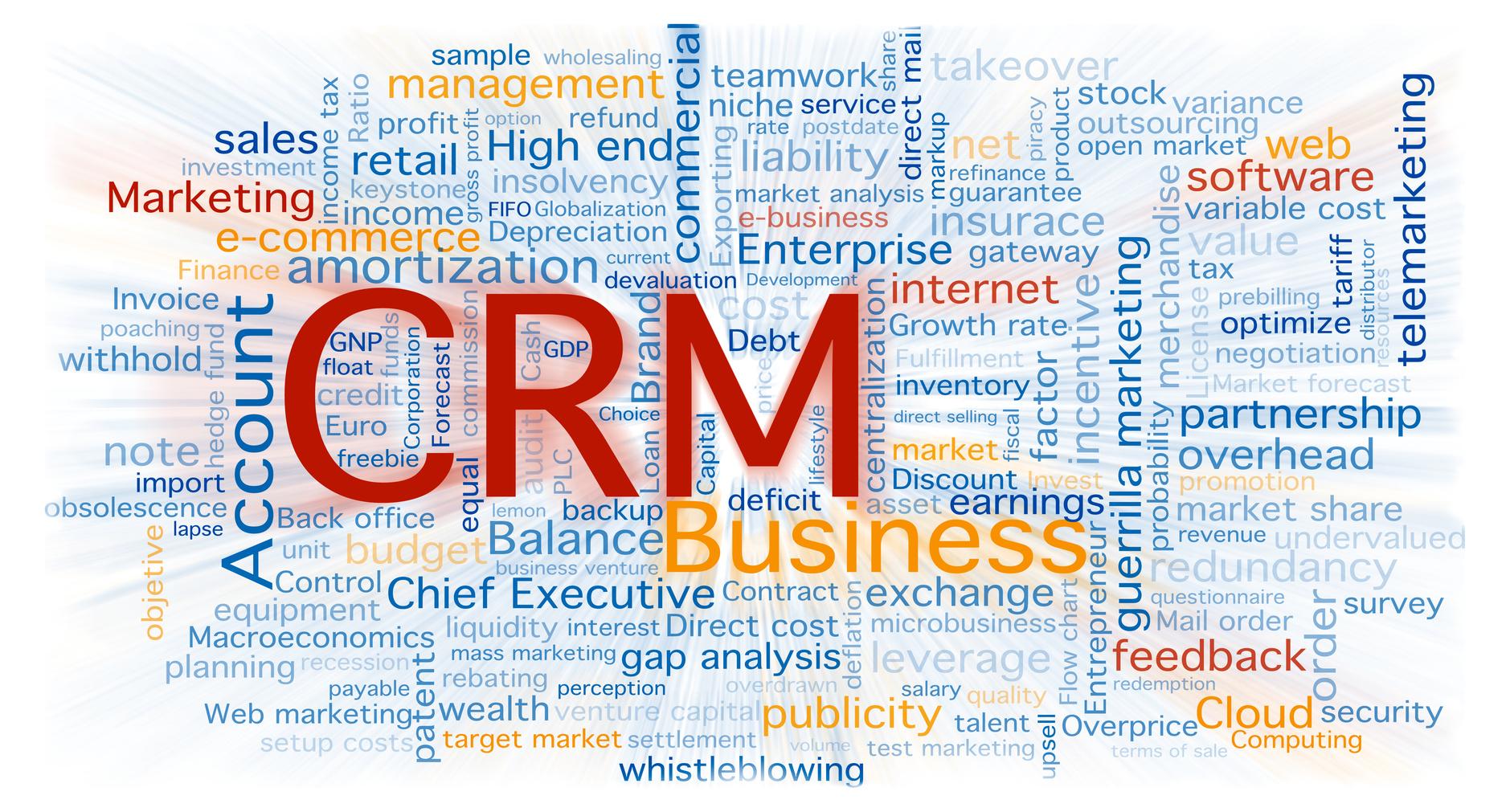 Nube de palabras de negocio centrada en el concepto de software CRM. Fondo aislado en blanco con un zoom borroso sobre las palabras.