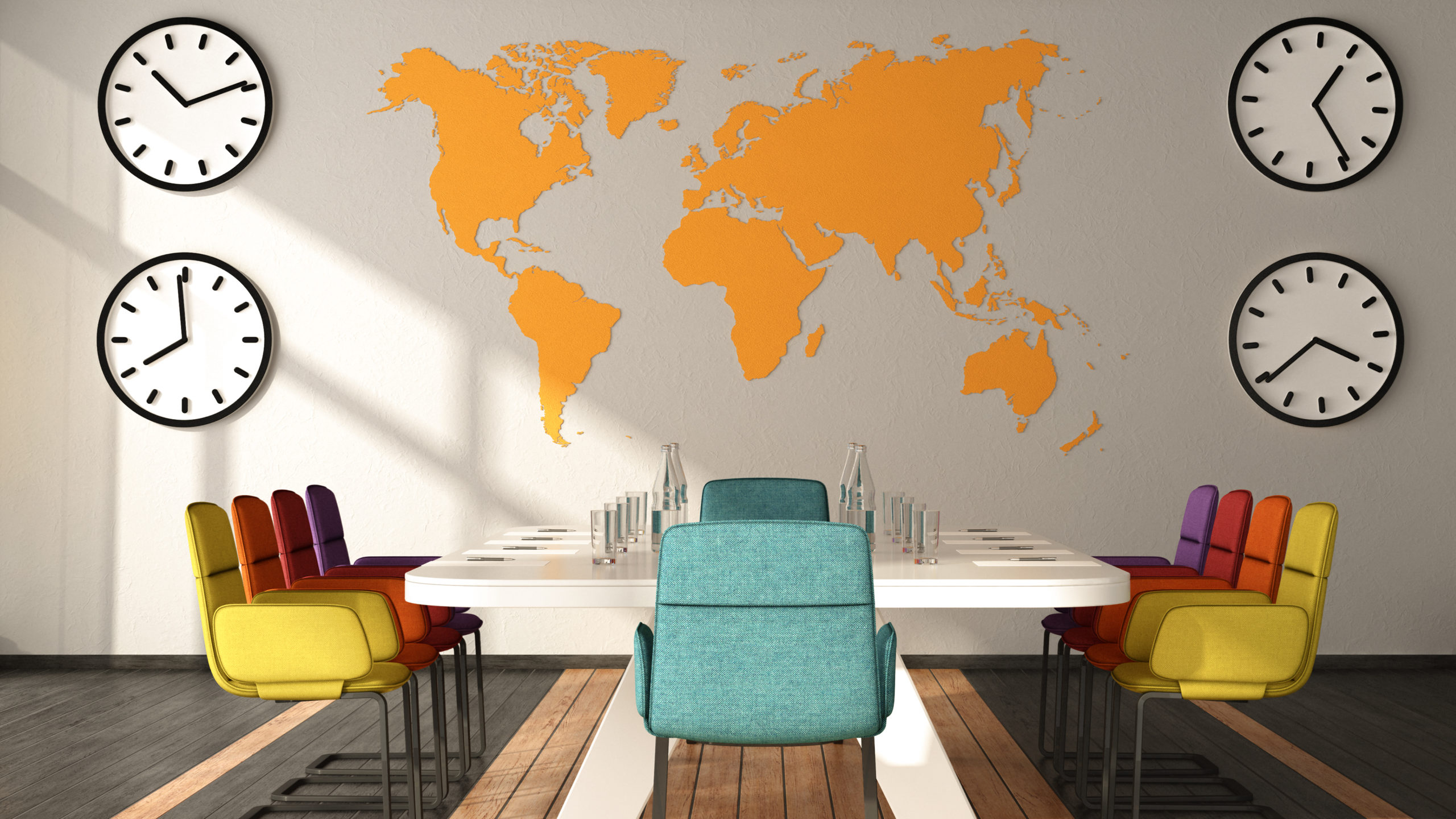 Front view of colorful meeting room with world map on background 3D Rendering