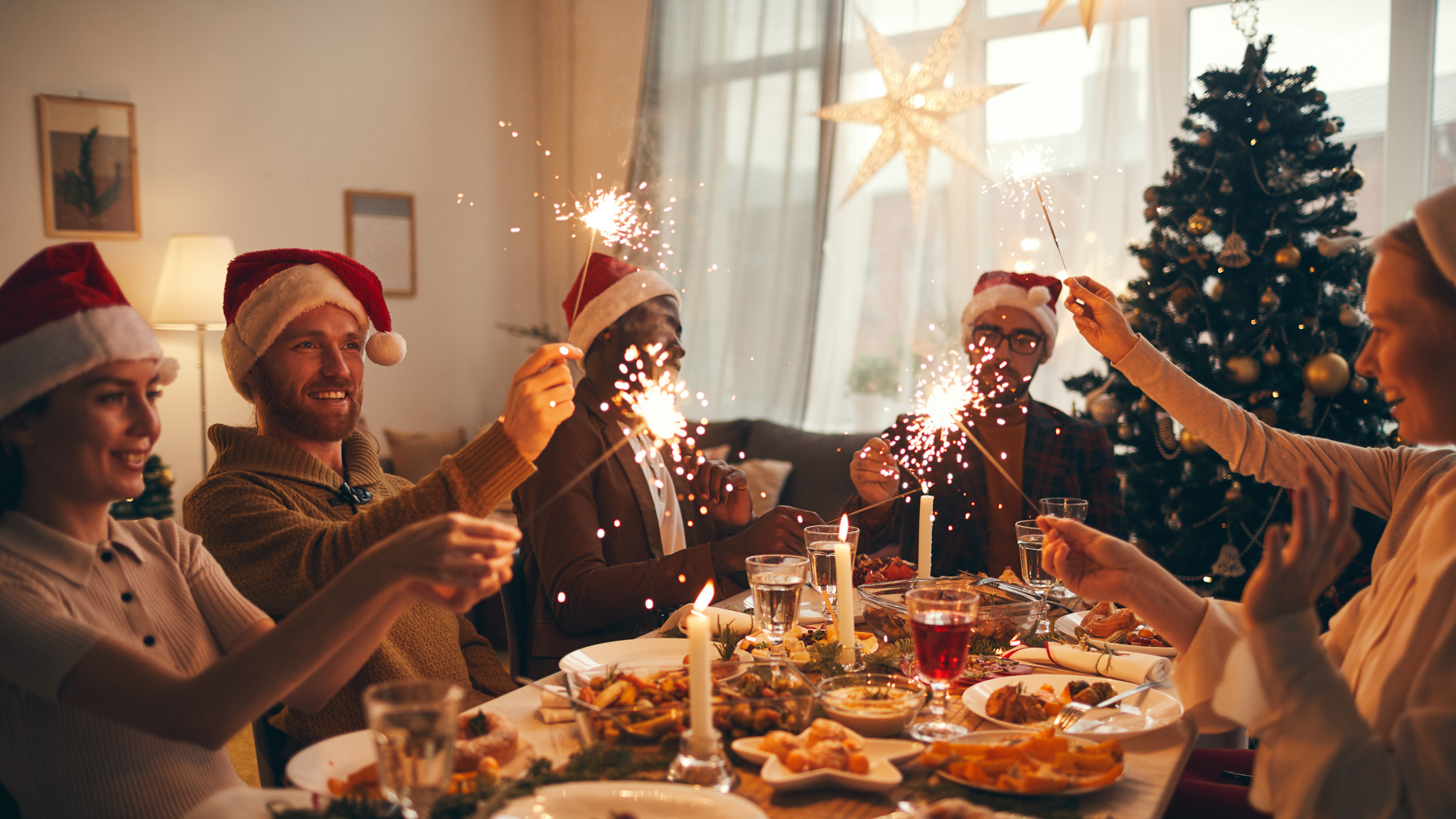 Multi-ethnic group of people raising glasses while enjoying Christmas dinner at home