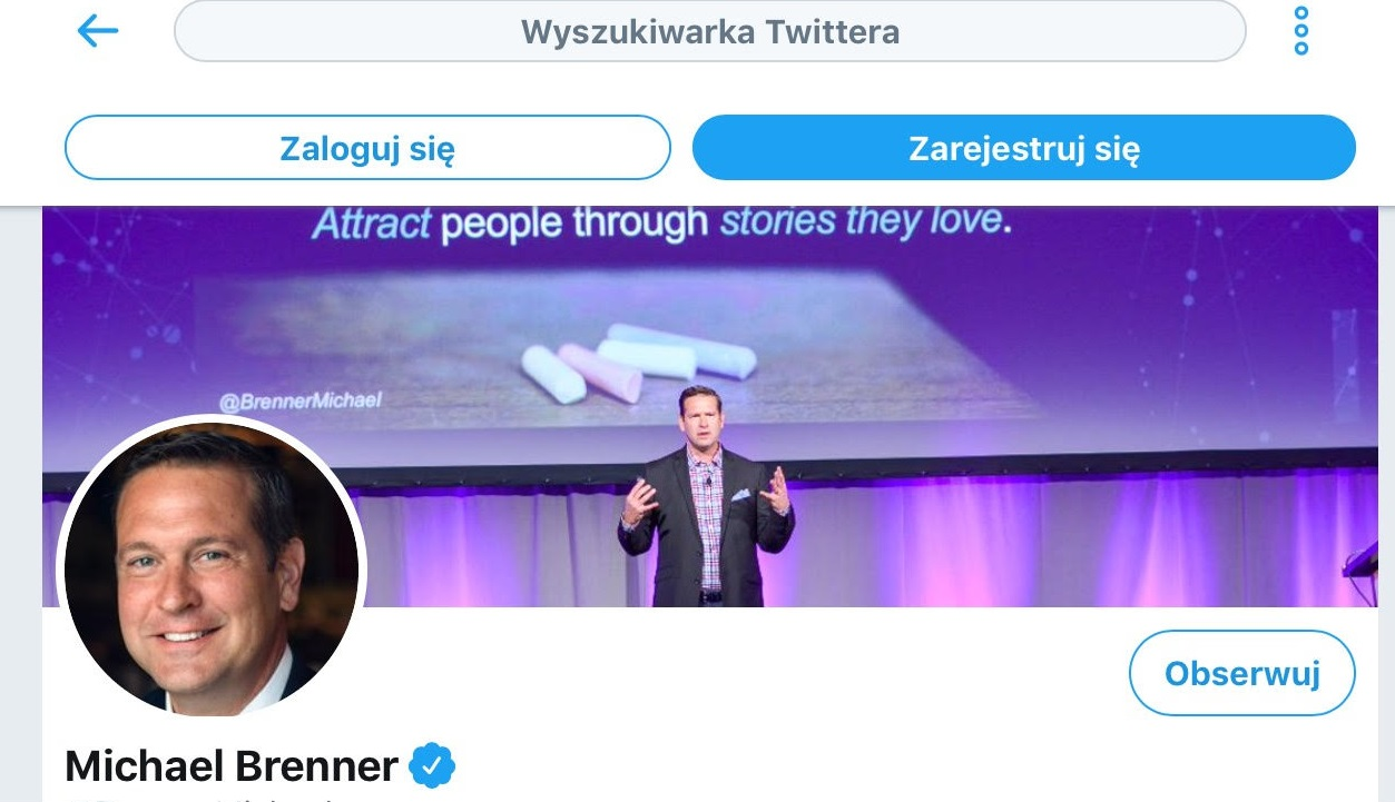 Personal branding – 8 narzędzi do budowania własnej marki Facebook Mediarun Twitter screenshot Michael Brenner 2