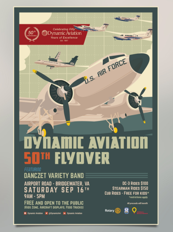 Plakaty które mogą inspirować Design Poster design for Dynamic Aviation.