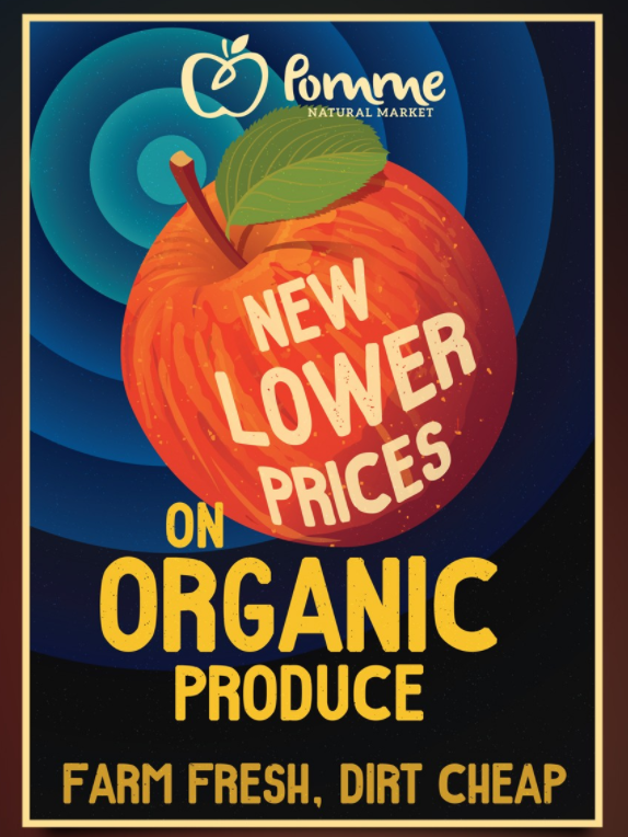 Plakaty które mogą inspirować Design Poster design for Pomme Natural Market.